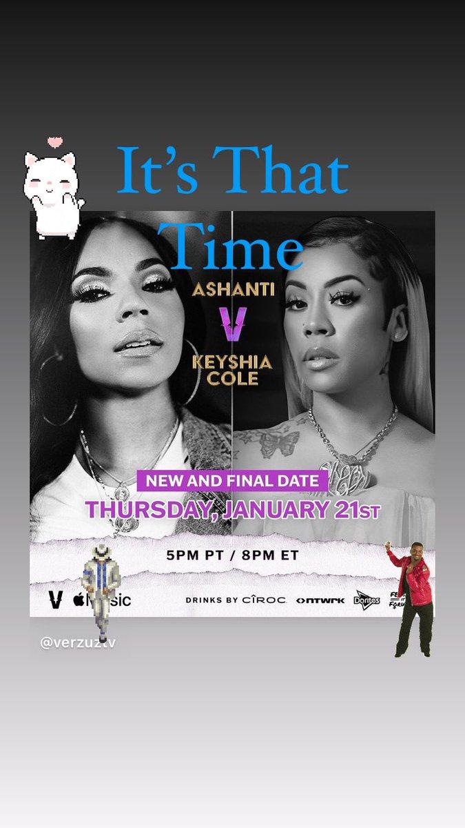 @ashanti verzuz @KeyshiaCole is coming this week. #AppleMusic #Verzuz  #4Words4MyAge Ashanti is gonna win!
