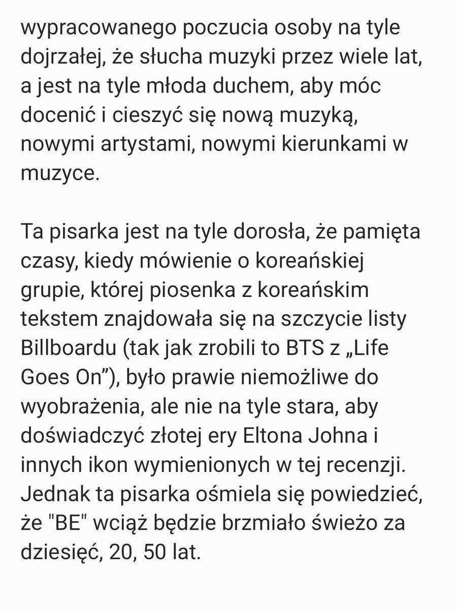 """Cd. 3 """"(...) ośmielam się powiedzieć, że 'BE' wciąż będzie brzmiało świeżo za dziesięć, 20 czy 50 lat."""" #BTS_BE #BTS #방탄소년단 @BTS_twt"""