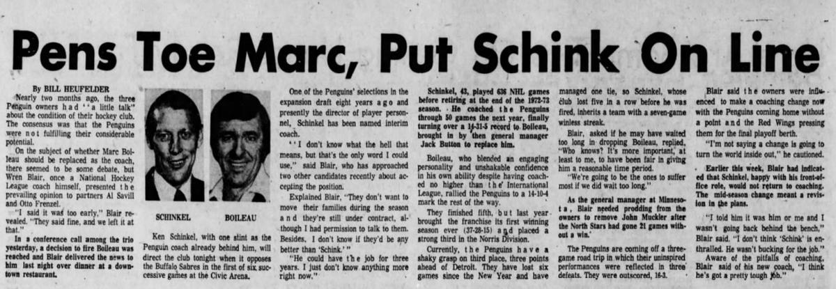 45 years ago (1/16/76): Boileau out as #Penguins' coach; Schinkel named interim coach. #LetsGoPens