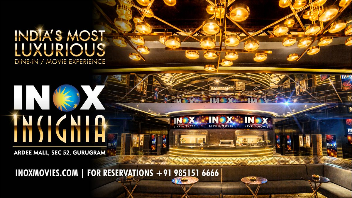 A superlative account of luxury, a synonym of magnificence, a destination that redefines cinema viewing and fine dining, #INOXINSIGNIA at #ArdeeMall, Sec 52, #Gurugram is a symbol of extravagant indulgences!   Come, witness the #MostStylishCinema destination!  #INOX #Insignia 🔥