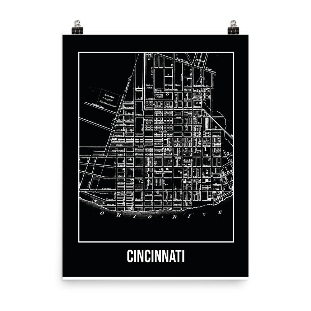 Retweet and Follow to enter our monthly #vintage #travel #poster #giveaway  #Cincinnati Antique Paper Map Black      #etsy #vacation