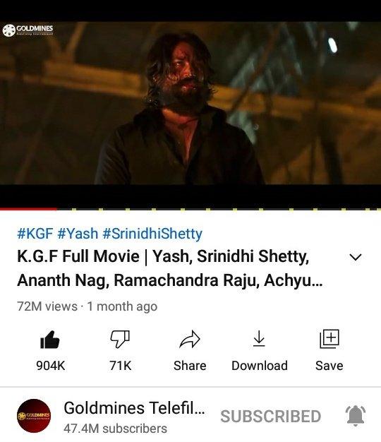 #KGFChapter1 Bhojpuri Version Crossed 72M+ Views With 904K+ Likes On YT. 🔥💥    @TheNameIsYash @SrinidhiShetty7 @YashBossEdits @YashTrends @BeingNimmaYash @YashUpdates @prashanth_neel @OfficialYashFc @Yashbalaga @YashTeluguFc @TeamOnlyYash @YashFC @RSYHCF