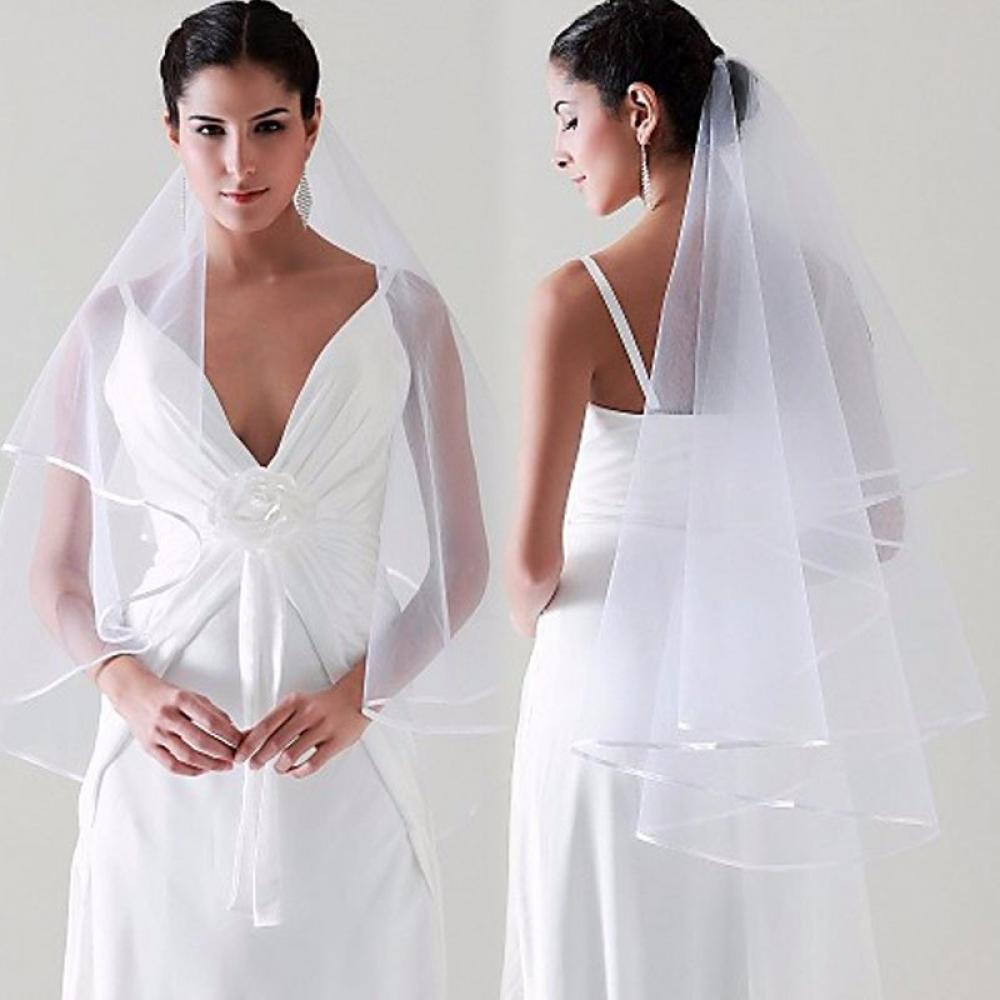 #happy #instalike Two Layer Satin Ribbon Edge Bridal Veils