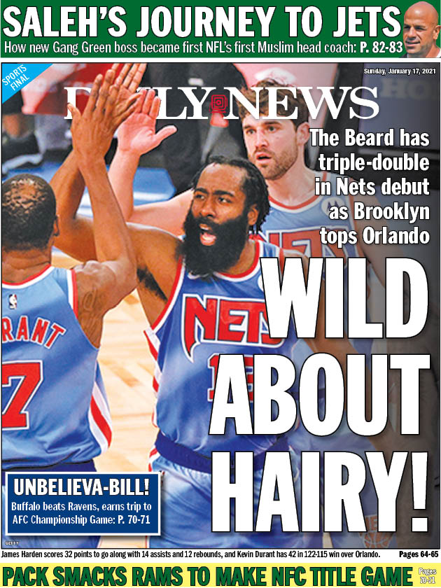 Our @NYDNSports back page: James Harden has triple-double in Nets debut, and Kevin Durant scores 42 as new era tips off in Brooklyn --