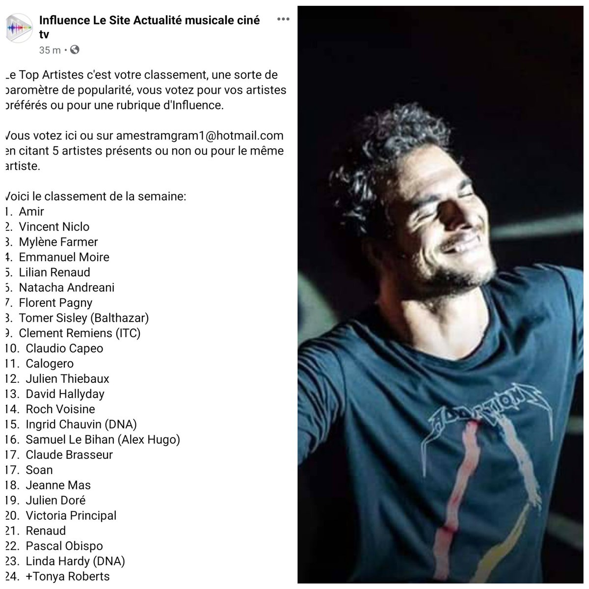 Une fois par jour, votez pour #Amir au #TopArtistesInfluence !  Classé 1er encore cette semaine,  ne lâchons surtout pas !  Merci de votre participation. Bon Dimanche !  🏆🏆🏆🏆🏆🏆🏆🏆🏆🏆🏆🏆🏆🏆