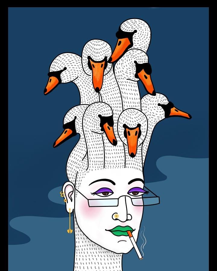 Just random thoughts . . . . . #artoftheday #art #artist #digitalart #illustration #swan #sketch #artistsoninstagram #digitalillustration #digitalartwork
