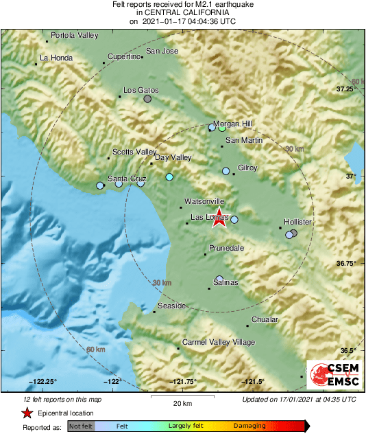 Map of felt reports received so far following the #earthquake M2.1 in Central California 1hr 15min ago