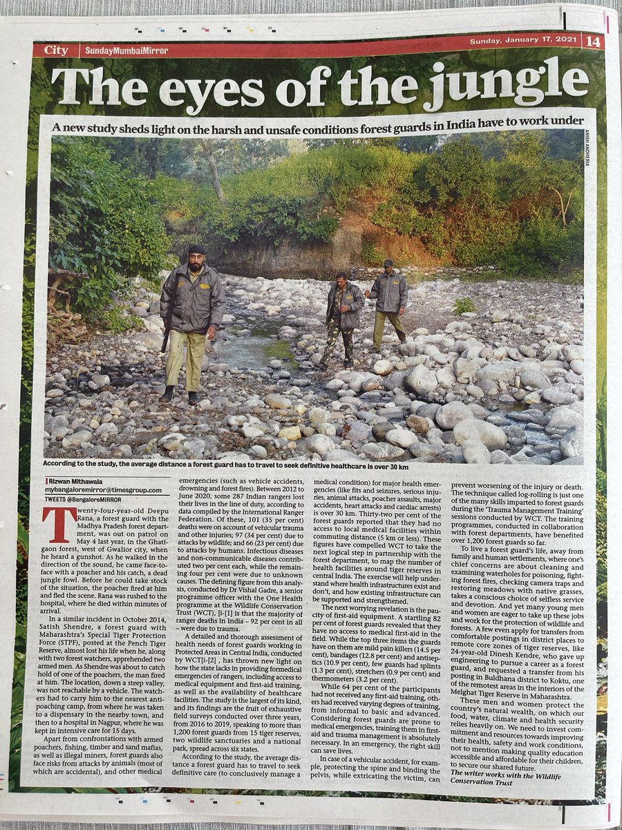 """Our #Vanrakshaks """"protect our our country's natural wealth, on which our food, water, climate and health security relies heavily on."""" We can and must do better by these men and women! Thank you for shining the light on our #ForestGuards @rizwanmithawala @WCT_India @MumbaiMirror"""