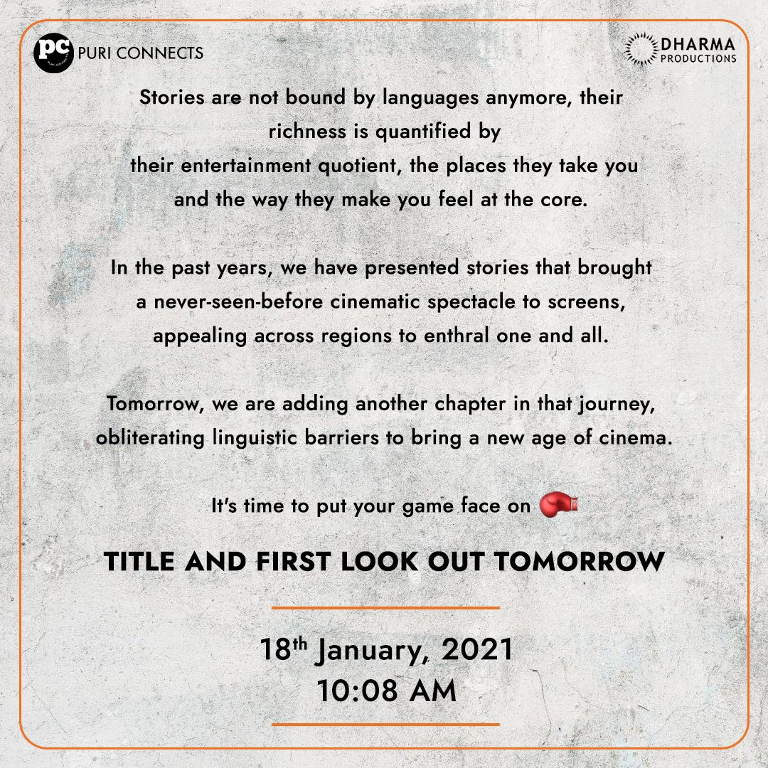 Cinema is set to cross all linguistic barriers to entertain one and all! Big news dropping tomorrow at 10:08am, watch this space for more!!