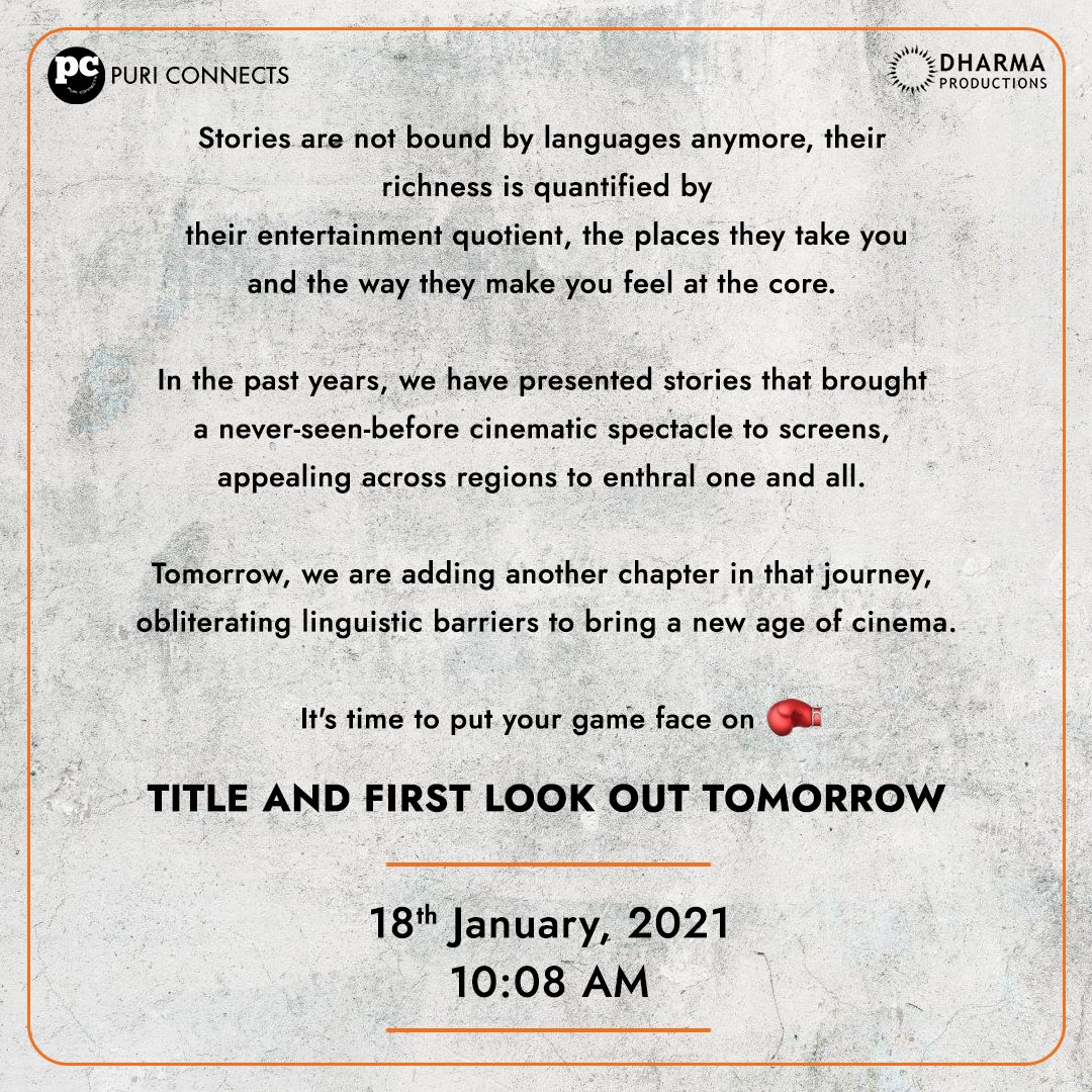 Stay tuned, big things coming up! Title and first look out tomorrow at 10:08am!
