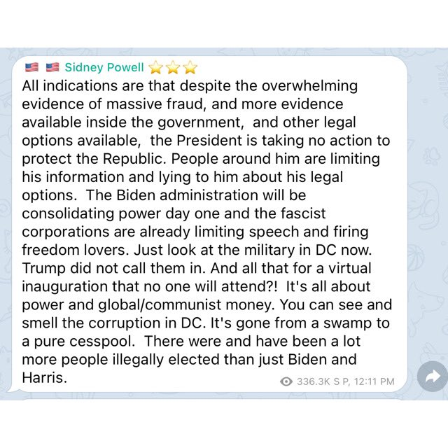 """Sidney Powell on Telegram:   """"The President is taking no action to protect the Republic.""""  """"We need a miracle. Pray."""""""