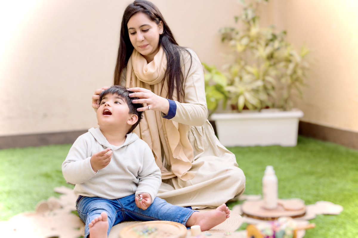 Oiling your baby's hair has proven benefits from centuries of ancient tradition. Head Massage is deeply nourishing for babies, especially in winters. The sun's life-giving rays helps the oil to absorb well into your baby's scalp providing deep conditioning & strengthening.