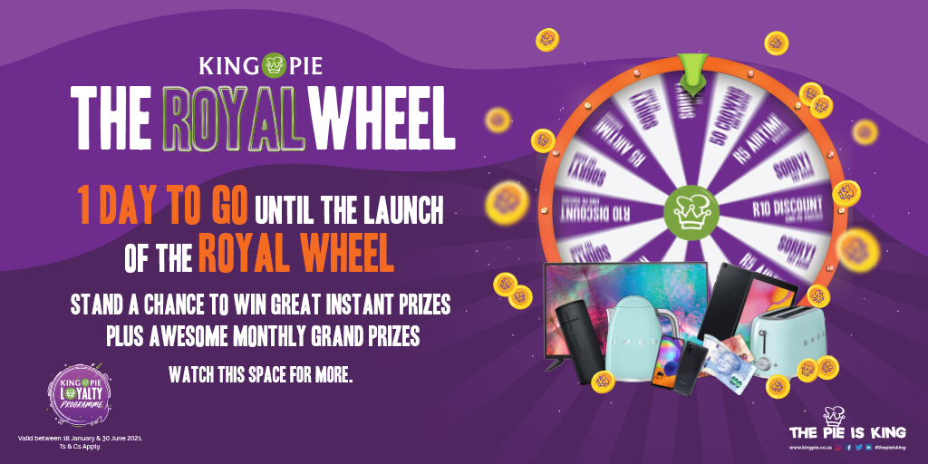 Tomorrow is a big day for all of us fam.   It's the launch of our really cool Royal Wheel Spin & Win Game.   Check out our social media platforms for the big launch tomorrow to find out how you can SPIN & WIN great prizes.   Ts & Cs Apply  #KingPie #TheRoyalWheel #Win