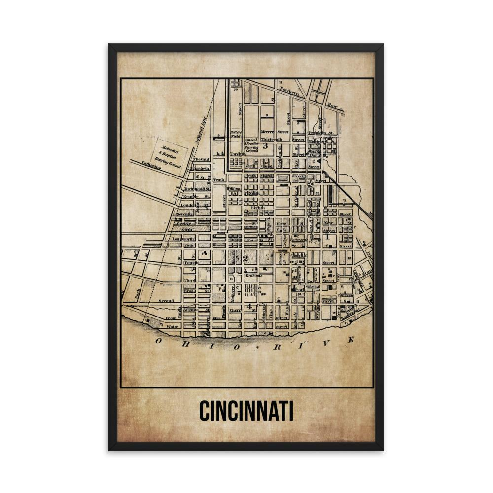 Retweet and Follow to enter our monthly #vintage #travel #poster #giveaway  #Framed Cincinnati Antique Paper Map      #etsy #vacation