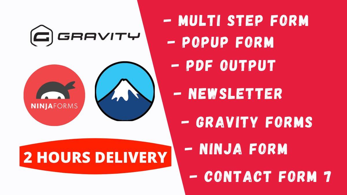 I will create @wordpress  gravity forms in 2 hours My @Behance  Portfolio:  Order Me:   #WordPress #wordpresswebsite  #BillsMafia #balvsbuf