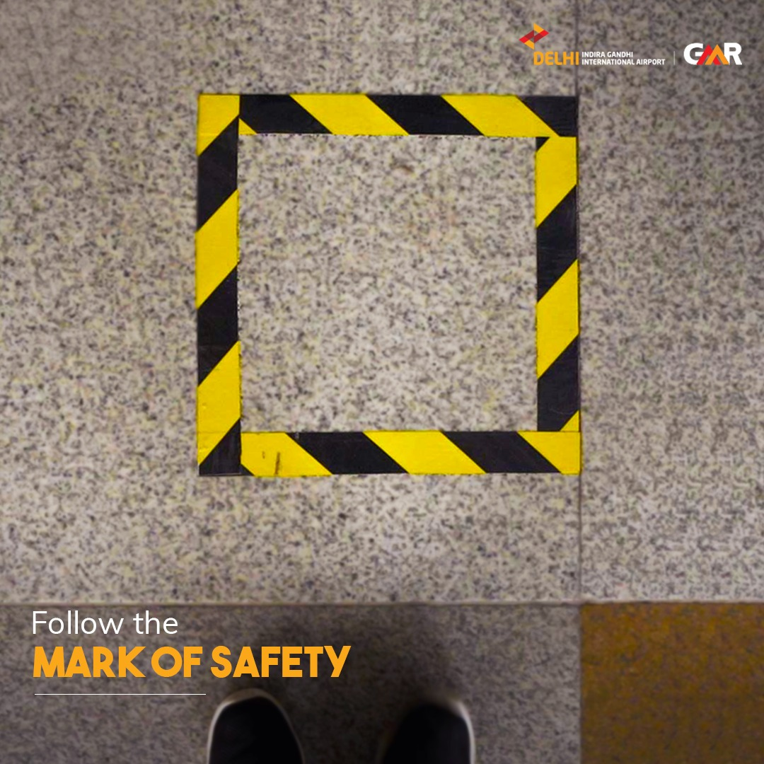 Floor-markings are placed everywhere to make sure all passengers stick to the norms of #SocialDistancing and maintain utmost safety while flying! #DelhiAirport