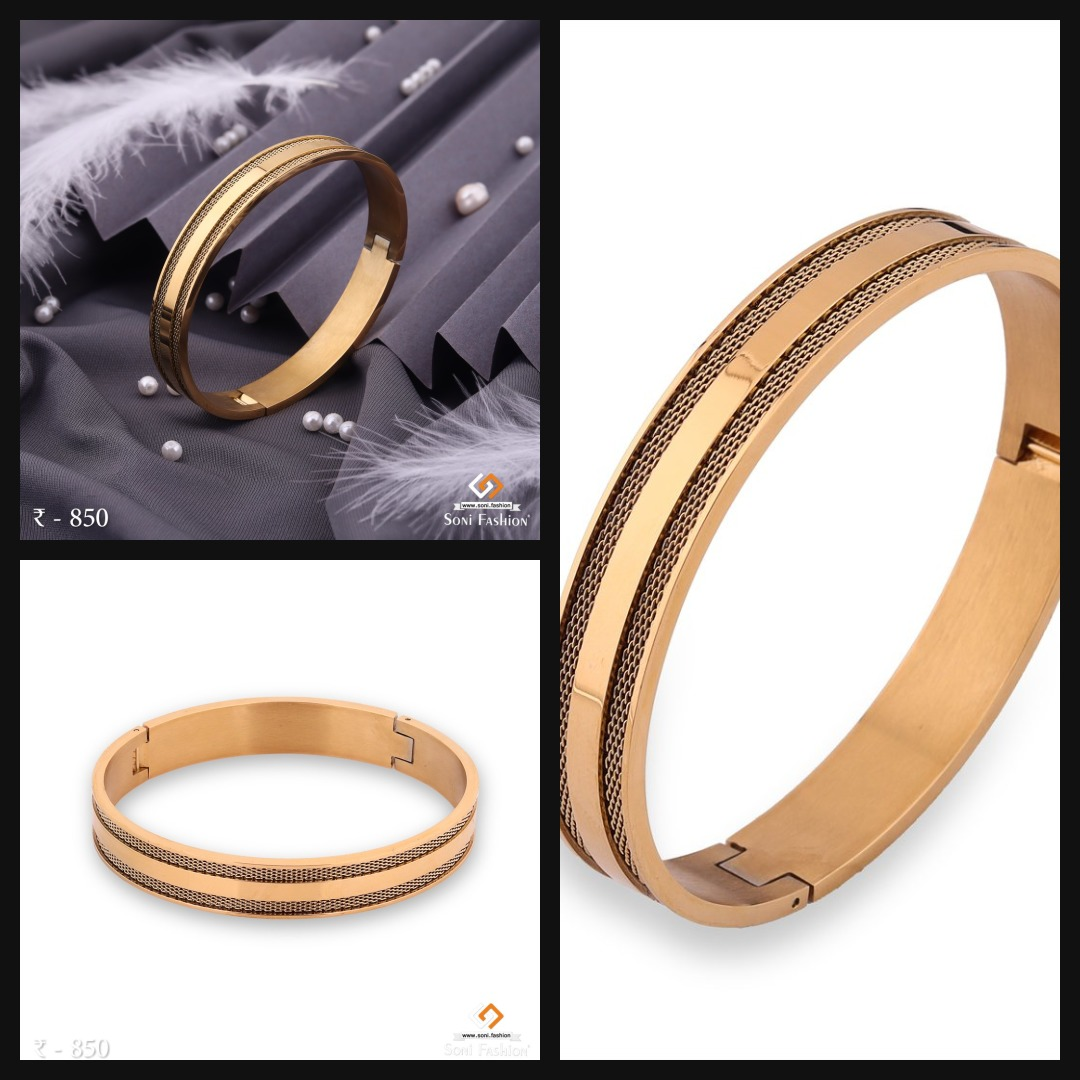 🐣. Offer Xtras! Net with Gold Plated Line Kada Bracelet for Men - Openable - Design 191 for ₹850.00 #diamonds #fashion