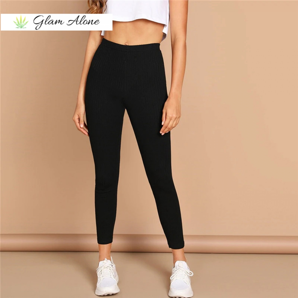 High Waist Rib Knitted Solid Casual Leggings   Buy Here:  Upto 80% OFF deals!! Visit us for offers & freebies! FREE Shipping worldwide!!  #GlamAlone #fashion #fashionblogger
