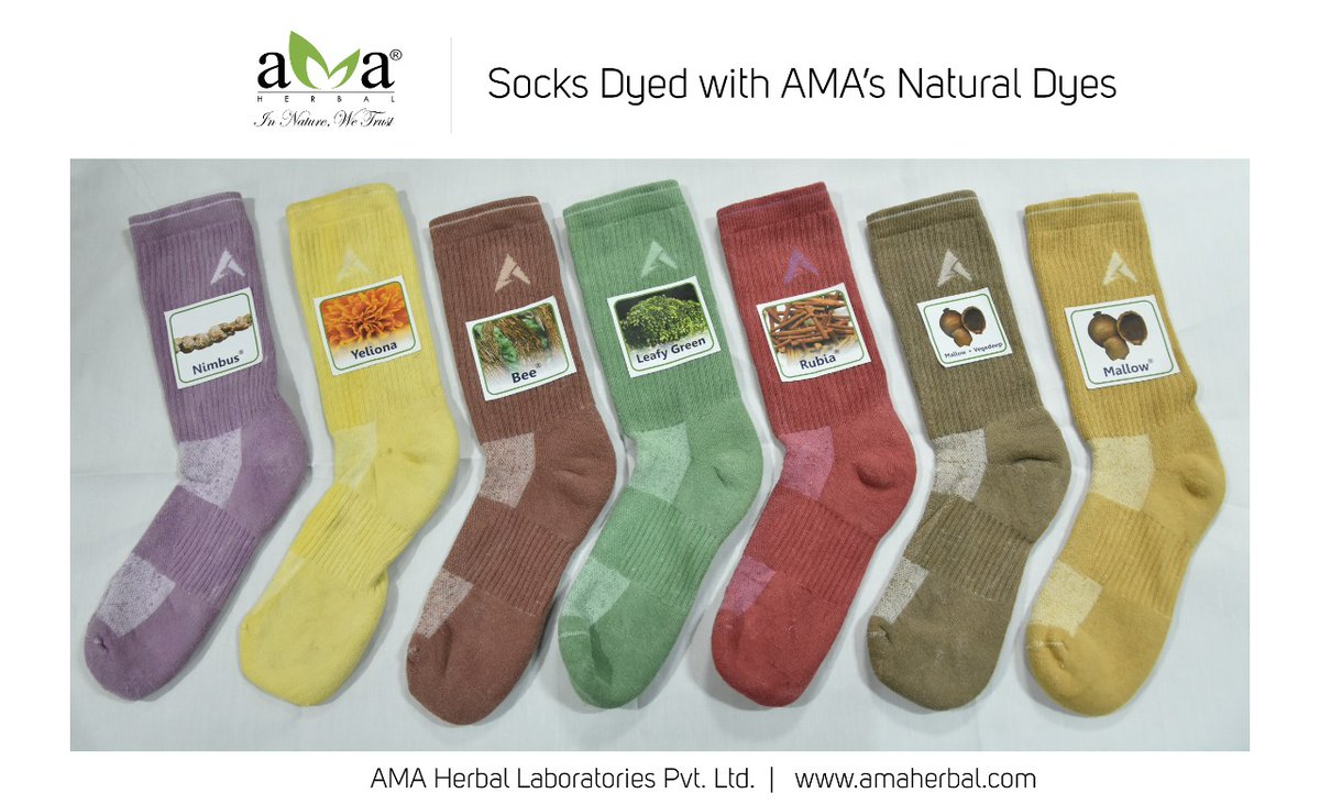 """""""Naturally Dyed socks"""".  *__Bestowing your feet a sustainable touch__*  Making your world more colourful, #naturally. AMA Herbal, striving to make textile fully #sustainable - Our method, #Naturaldyes.  AMA Herbal    . . .  #AMAHerbal #textilesofindia #vocalforlocal #fashion"""