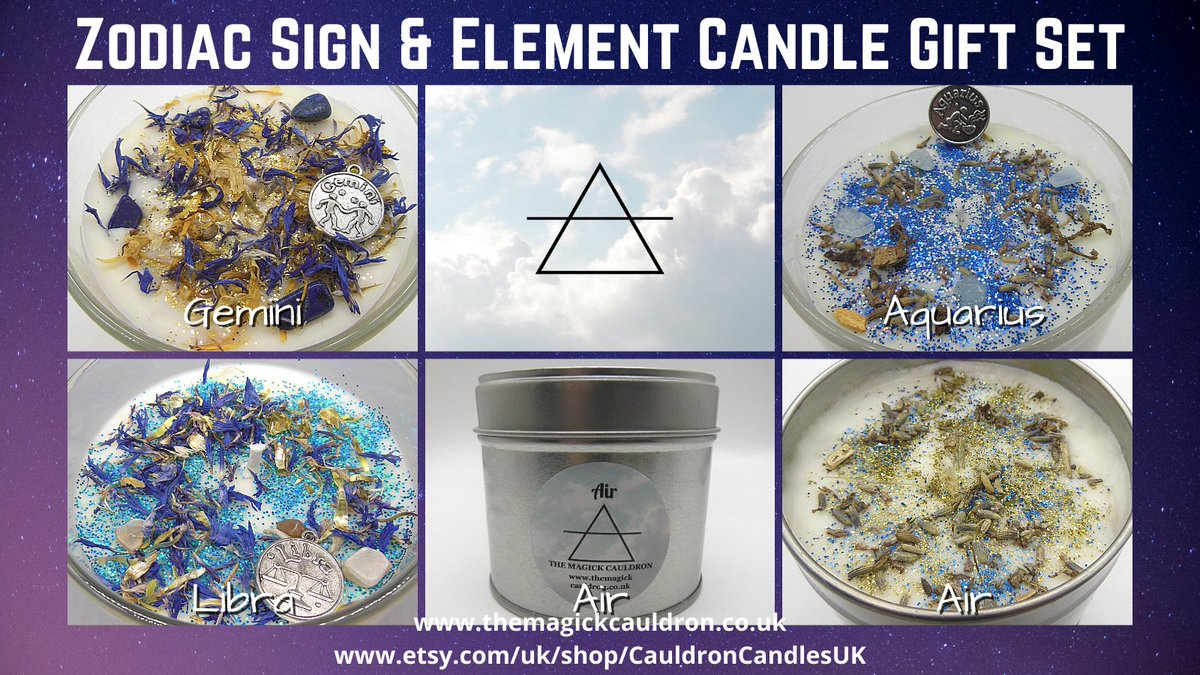 Our Zodiac Gift Sets contain a zodiac sign candle along with its corresponding elemental #candle - this is our Air sign collection...  #Gemini #Libra #Aquarius #gift #giftideas #zodiac #astrology #candles #UKHashtags #sundayvibes