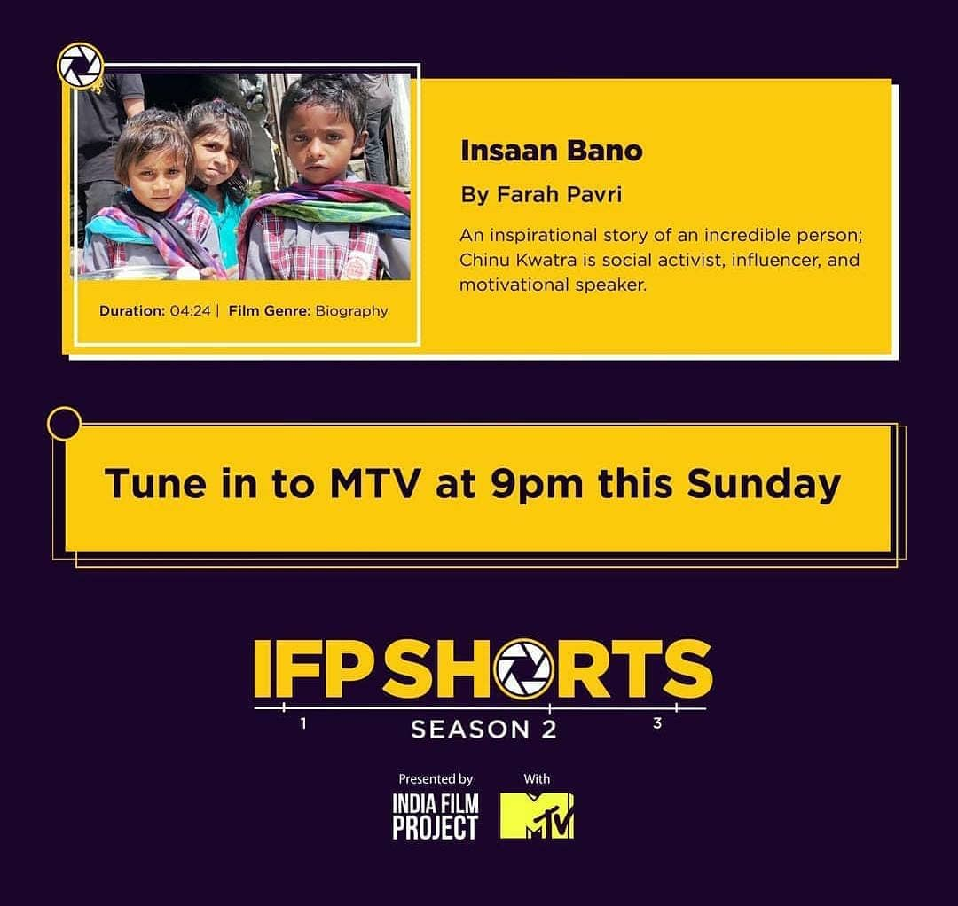Insaan Bano The short story on our Captain Mr @chinukofficial sir and his journey will be up on MTV, Today at 9pm.❤️ Stay tuned. . #mtv #shortstory  #bet #mtvindia #mtvawards #Khushiyaanfoundation  #Rotigharstories