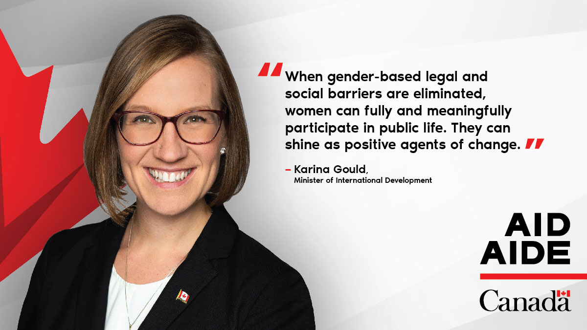 Yesterday, at #QFLIP, Minister Gould motivated the next generation of #WomenLeaders with stories of empowerment. Before and throughout the global pandemic, 🇨🇦 has been working to make women's and girls' voices heard around the 🌎.    🇨🇦 supports #GenderEquality!