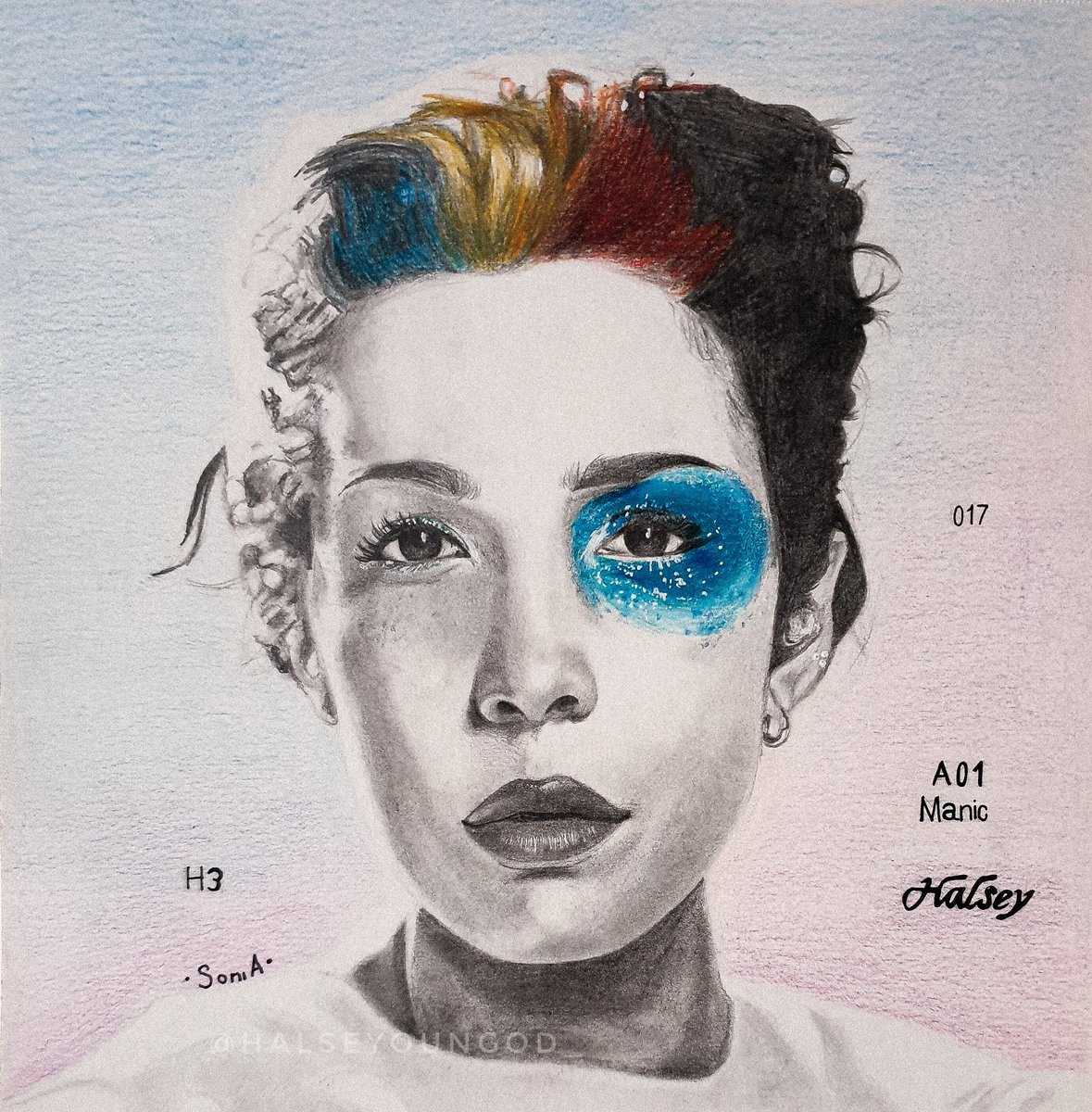 #manicanniversary  I did this drawing of manic's cover almost a year ago, I wanted to thank you @halsey for this album, it literally changed my life in some ways, I met amazing people thanks to this album, I had one of the best days of my life when I went to the tour, thank you+
