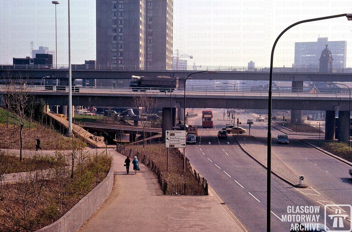 #M8 Woodside Viaducts passing over Garscube Road in this photo taken in the spring of 1974.  The viaducts were completed in May 1971 and constructed by Balfour Beatty.  #Glasgow #Archives #history #sundayvibes