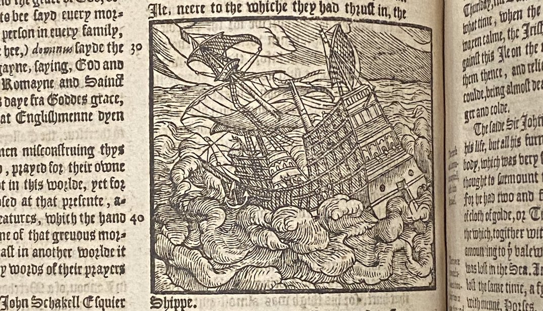 Illustration of #ship from Richard II chapter in Holinshed's Chronicles (1577) #HistSci Collections @OU_Libraries #woodcut #rarebooks #histSTM  #ShakespeareSunday @HollowCrownFans #TRANSPORT!