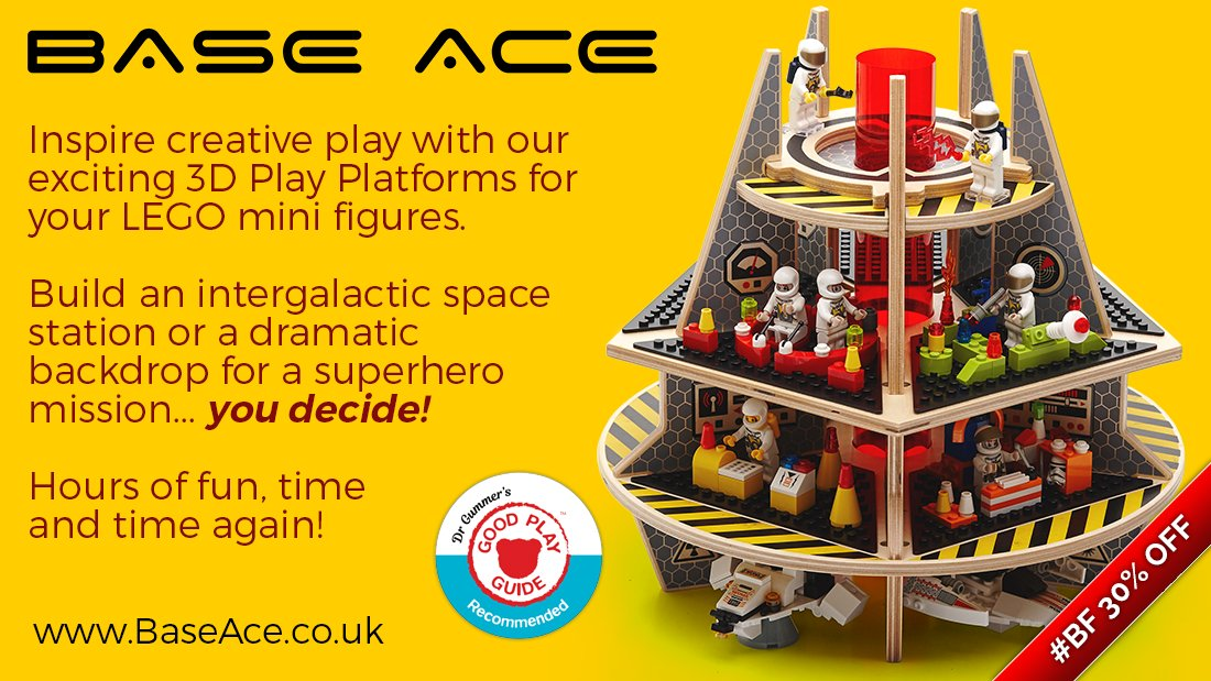 Have you got a #Lego #MiniFigure fan in your #Family then treat them to a @@BaseAce3D  EVO 3D Platform and let their #Imagination and #CreativePlay be #Inspired. We now have a #BlackFriday #Offer of 30% OFF here  #BF #legostarwars #ChristmasToys #KidsToys