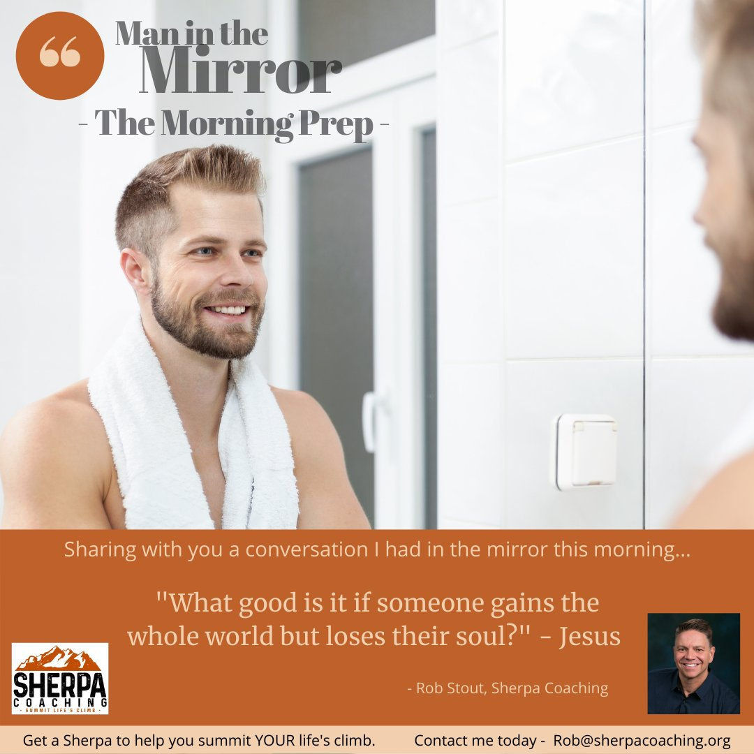 """Man in the Mirror"""" Day 17! Building a global army of men summitting life's climb!   Like/follow/share. It's good, it's free!  #maninthemirror #sherpacoaching #gettingevenbook #menscoaching #personalgrowth #lifecoaching #positiveattitude #lifechange #newyear #newyearsresolution"""