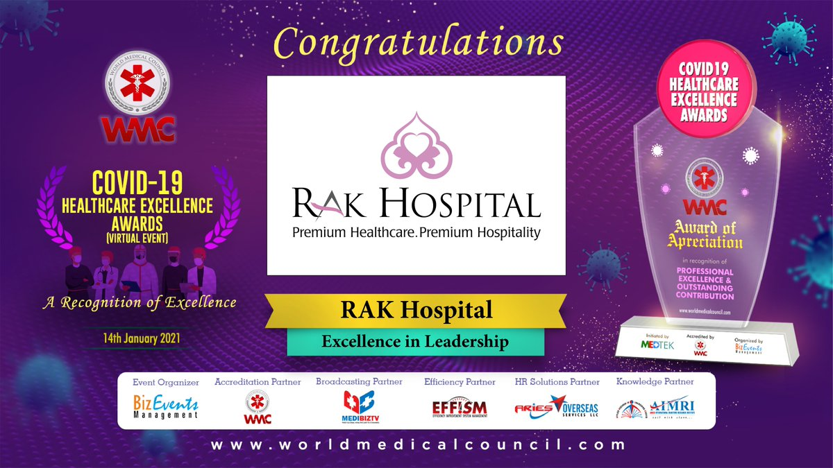 RAK Hospital receives 2 prestigious awards from the World Medical Council (WMC) 1. Excellence in Leadership - RAK Hospital  2. Healthcare Personality Award - Dr. Raza Siddiqui   #Award #Winner #celebration #worldmedicalcouncil #healthcare #CEO #medicaltourism #RAKHCares