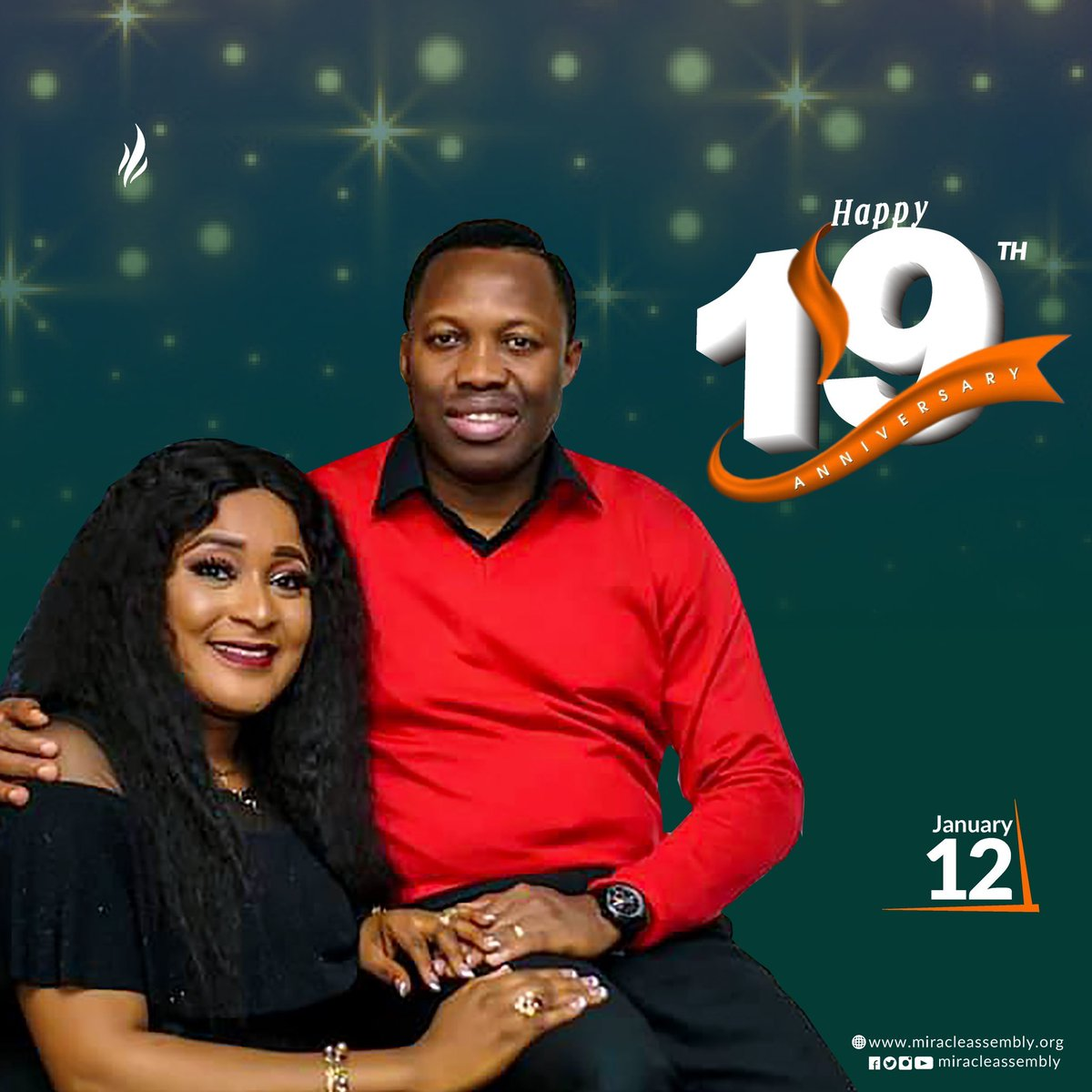 Happy 19th Wedding Anniversary to Our Parents!  Thank You for giving us an example of what a Blissful Marriage looks like.  #miracleassembly #qualityliving #elevation #weddinganniversary #happymarriedlife #celebration #blissful #spiritualparents #love