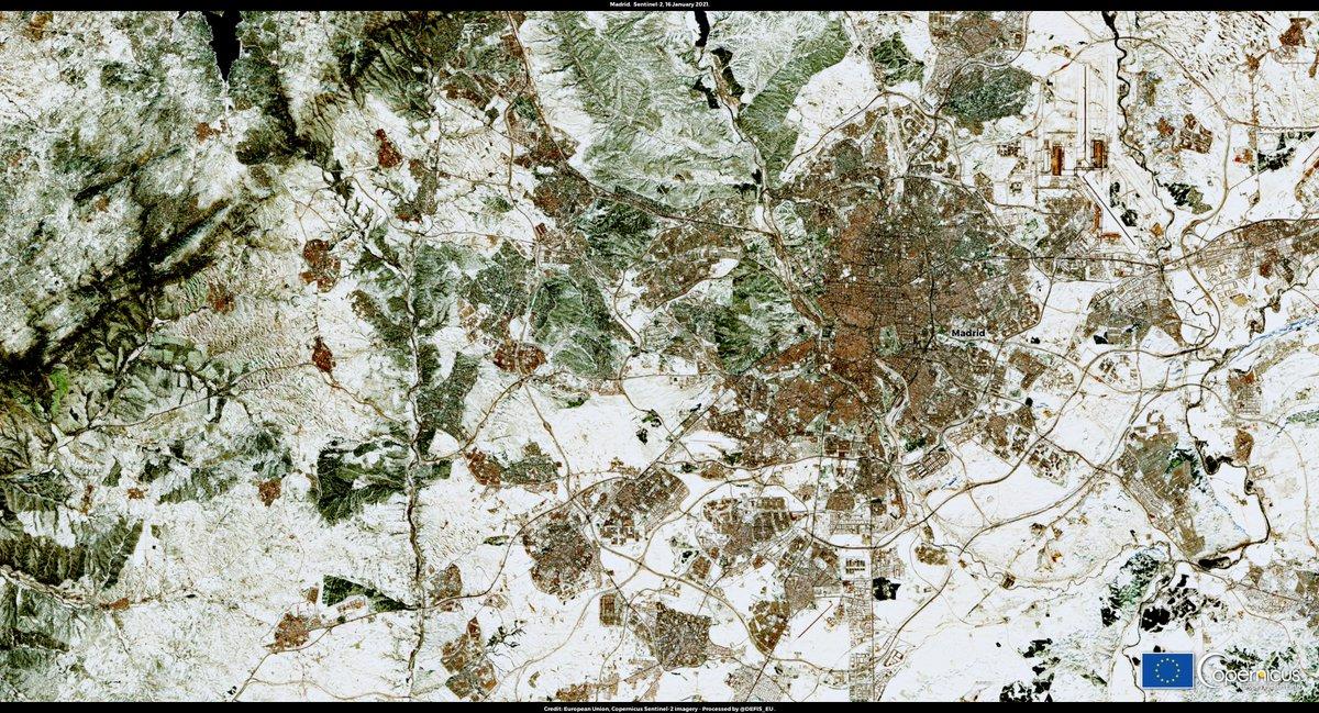 Retweet @ CopernicusLand: RT @defis_eu: #ImageOfTheDay #EUSpace #Filomena #Filomenamadrid #madridbajolanieve #BorrascaFilomena   The snow is slowly melting in the region of Madrid but massive amounts are still present in the green areas!  @CopernicusEU #…