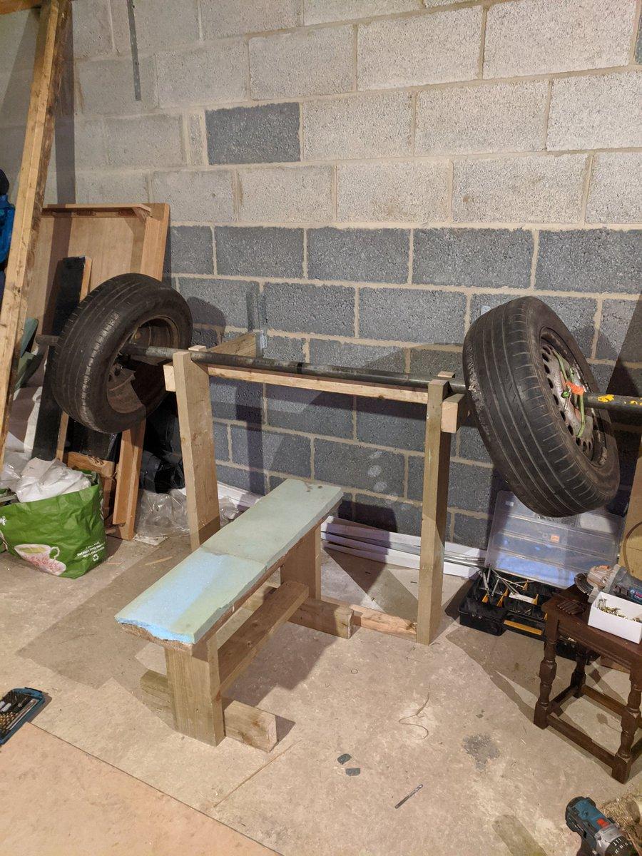 New bench set up. Love it 💯💪👊💪💯 #fitfam #beastmode #Strongman #gymmotivation #HomeGym #bearded #viking #power #weightlifting #beardgang #bearded #sundayvibes #SundayMotivation #gym #chestday