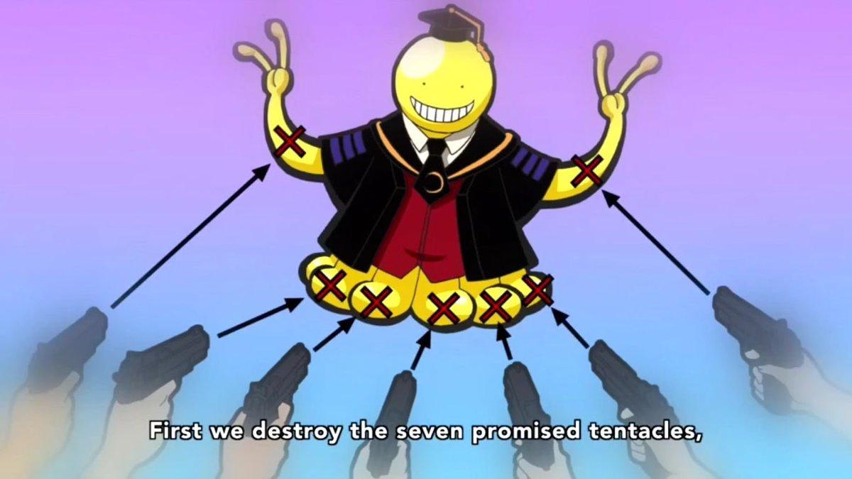 Shoot at his 7 tentacles and we'll have him! Ok...lol! 😂 #AssassinationClassroom #Toonami