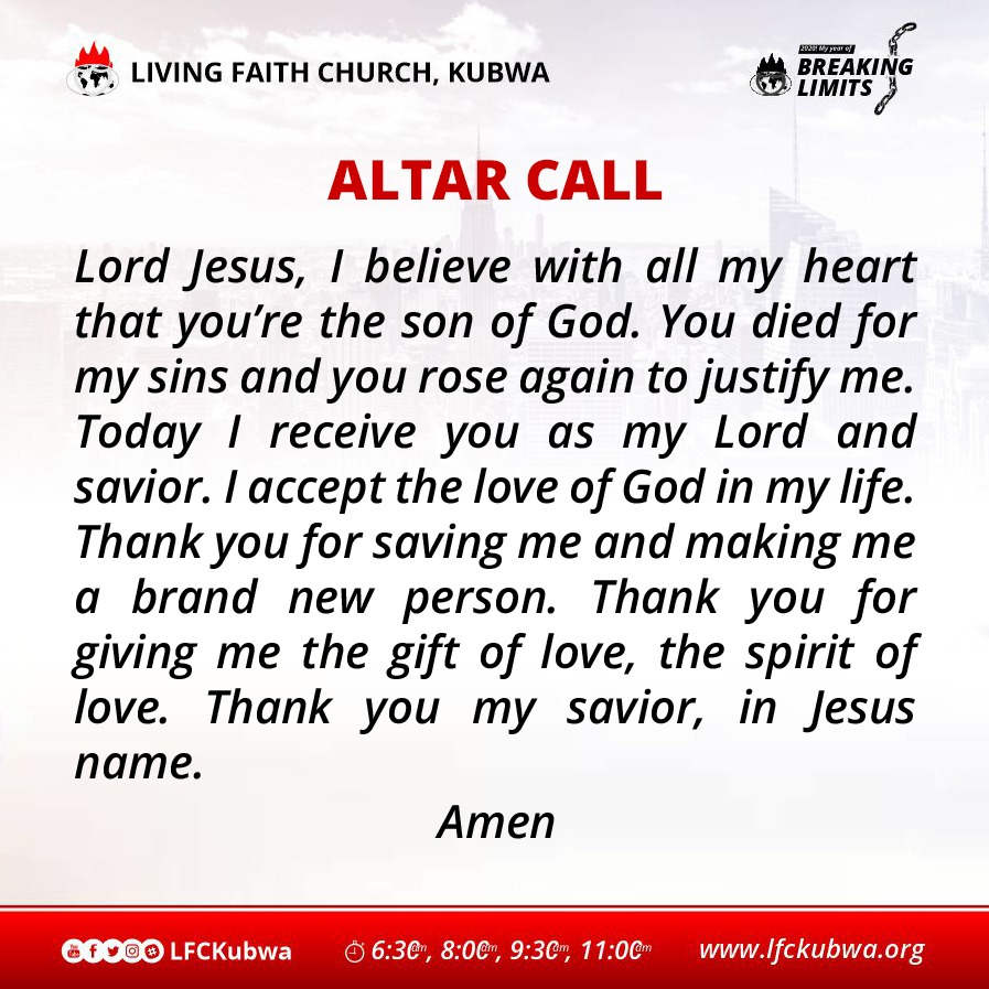ALTAR CALL Psalm 91:1  #LFCKubwa #CovenantDayofExemption #Sunday #SpecialAnointingService #21DaysFastingandPrayers #Day14