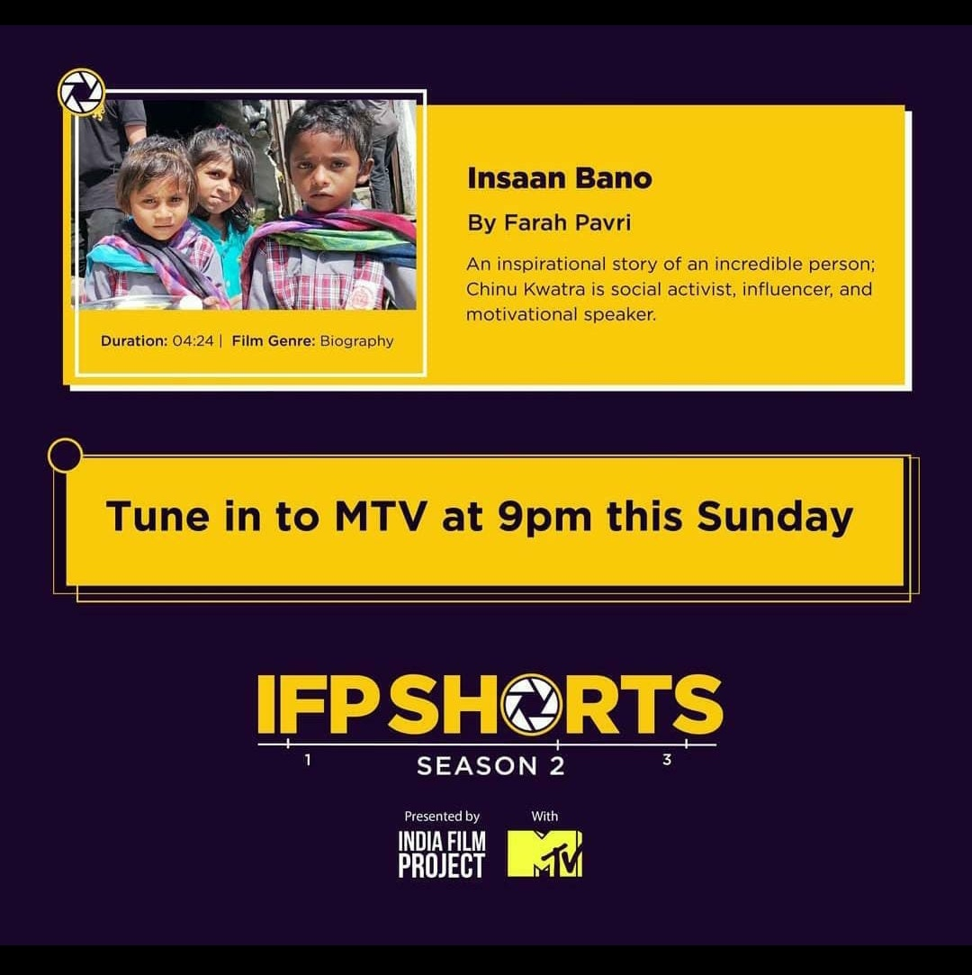 Never thought that this dream of mine will be fulfilled so soon !  Insaan Bano, a short movie on my journey by Farah Pavri will be up on @MTVBeats Tonight at 9pm.  Thank you @iFilmProject @MTVBeats & #FarahPavri for this ❤️  @AUThackeray @priyankac19 @deespeak