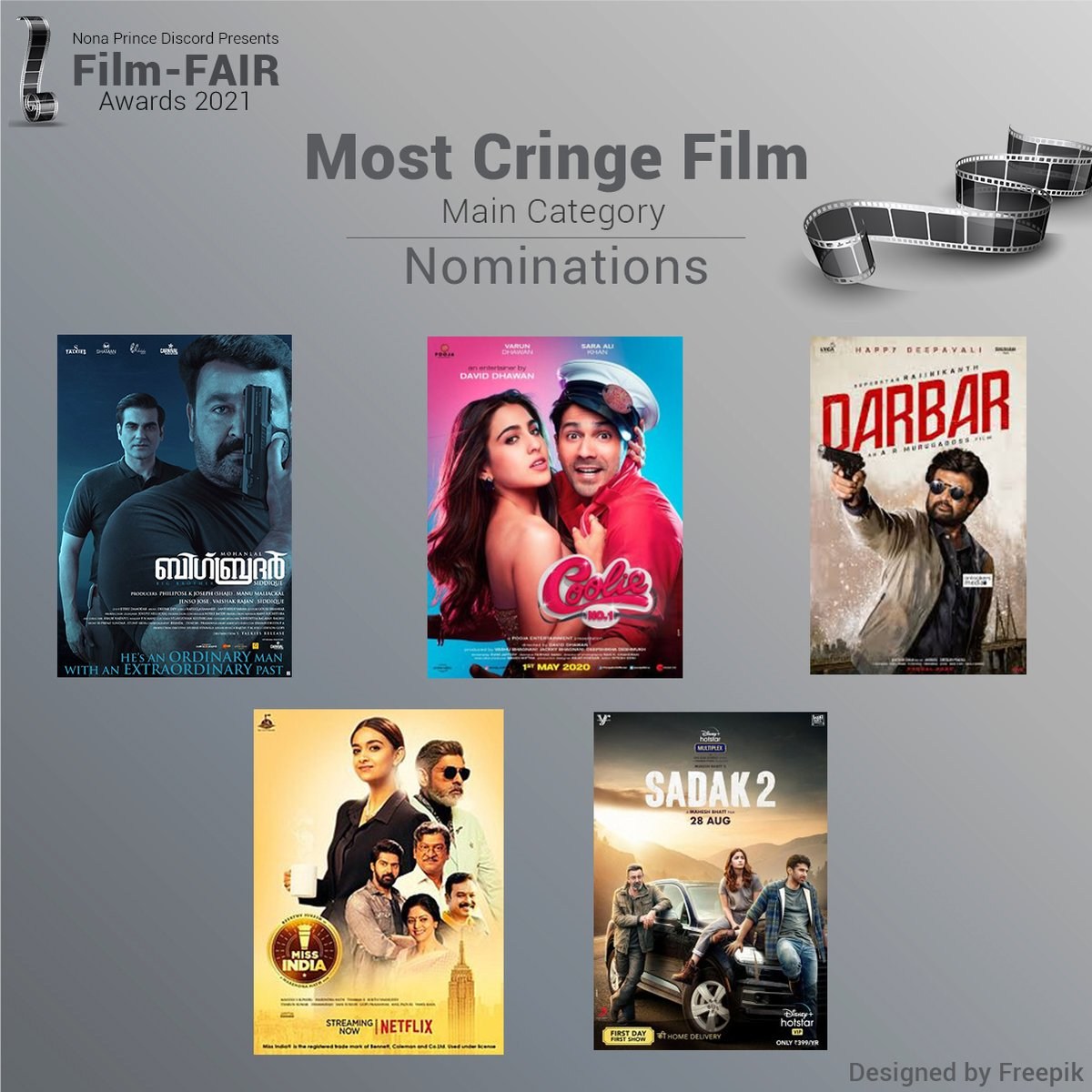 Nominations for the Most Cringe Film of 2020 Go Vote here -    #BigBrother #coolieno1 #Darbar #MissIndia #sadak2 #BoycottBollywood #Mohanlal #VarunDhawan #rajnikanth  #FilmFAIRAwards2021 #FilmFAIRNominations #Vote