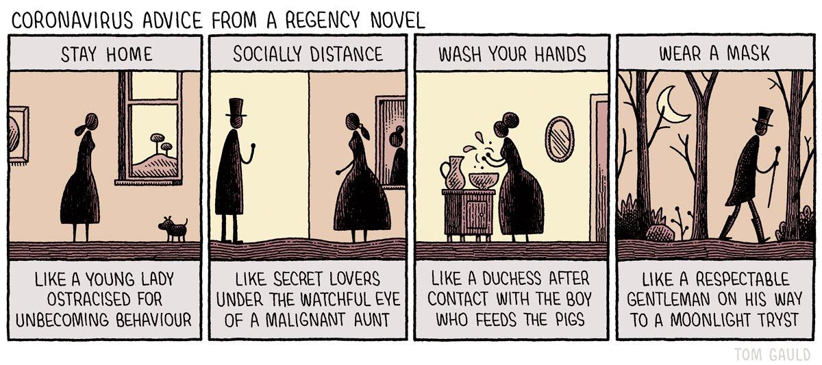 'Coronavirus advice from a regency novel' (my cartoon for yesterday's @guardianreview) https://t.co/8jgaxi8eRj