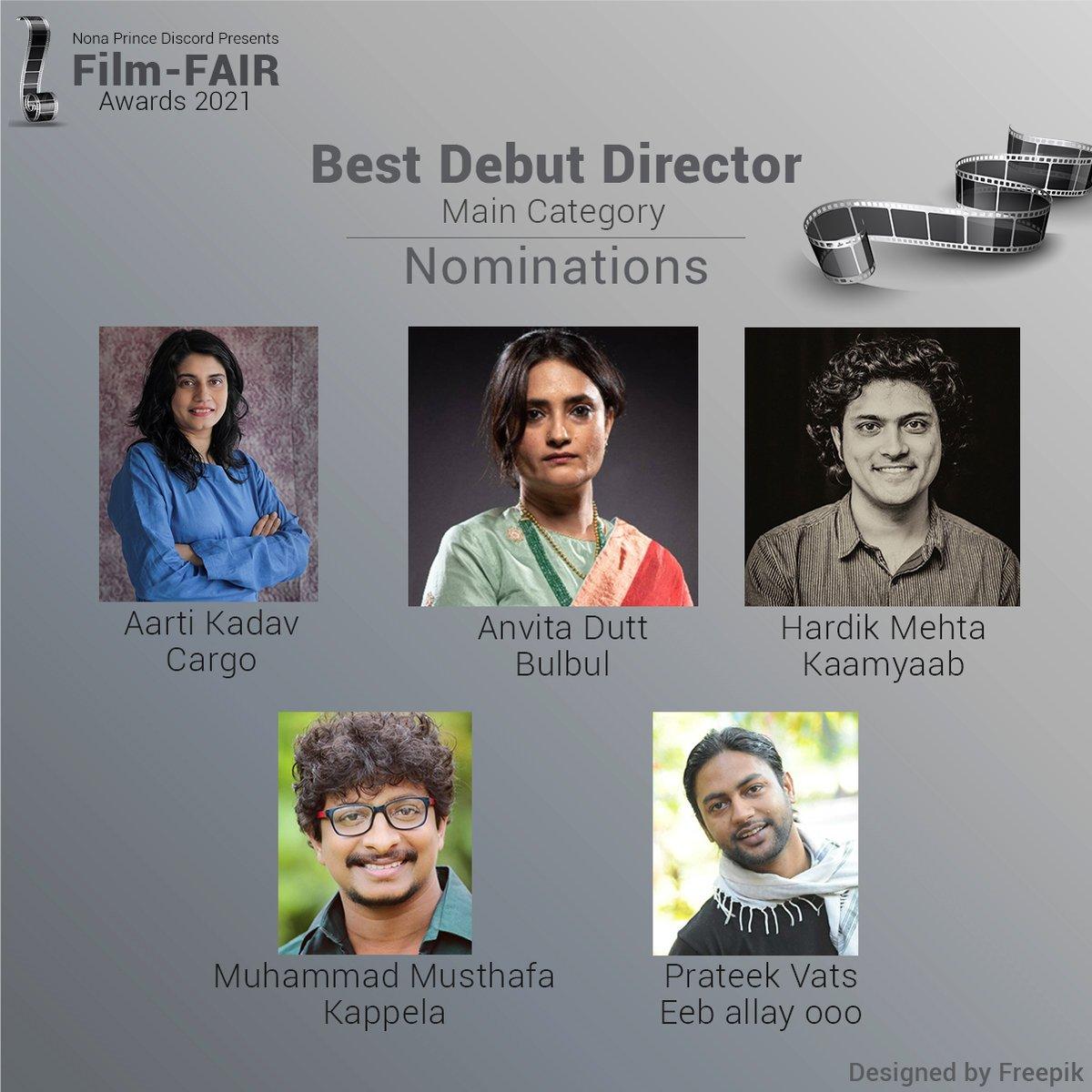 Nominations for Best Debut Director in 2020  Go Vote here -    @AratiKadav #cargo #AnvitaDutt #Bulbul #HardikMehta #Kaamyaab #MuhammadMusthafa #Kappela #PrateekVats #eeballayooo   #FilmFAIRAwards2021 #FilmFAIRNominations #Vote