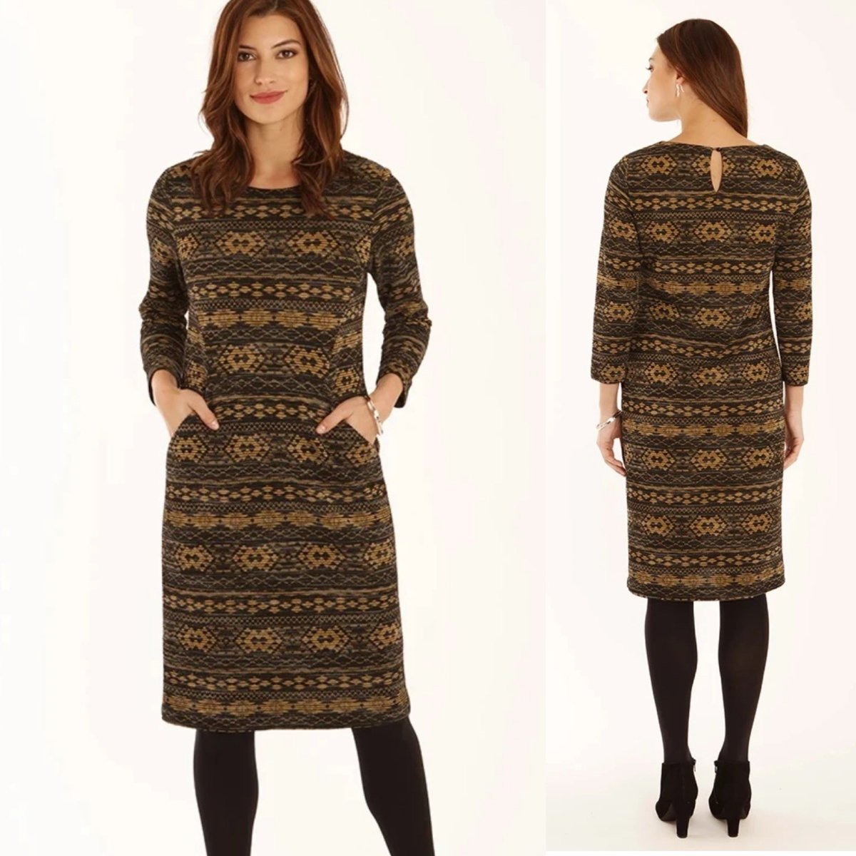 ✨ In the #Sedici #Sale, it was £76 now it's £45 ✨   So sophisticated in #jacquard knit, this gorgeous #Aztec print #dress is an eye catcher.  It is lined and even has pockets on the front 🤩  👩‍💻   #Seaford #Sussex #ShopLocal #Pomodoro #dresswithpockets