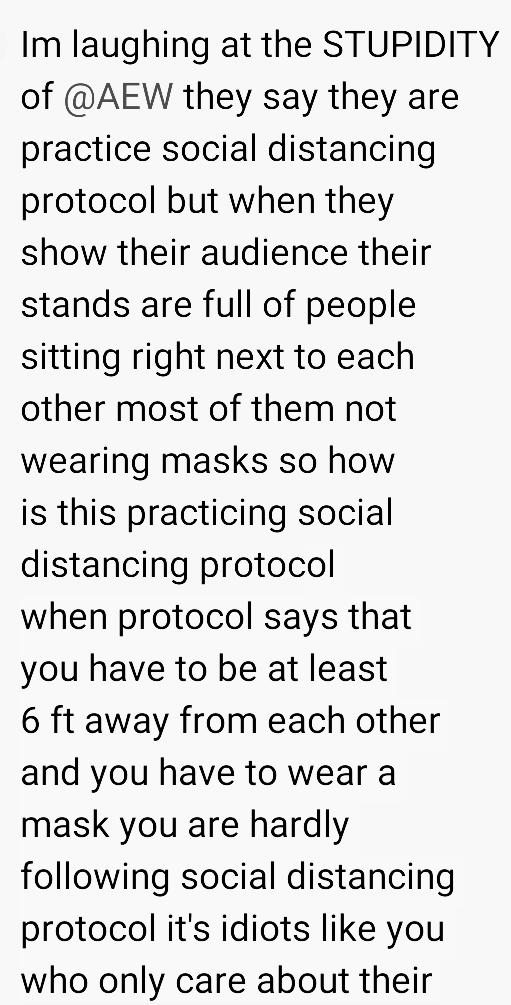 @AEW  #PraticeSocialDistancing  #StaySixFeetApart  #WearAMask #TheLifeYouSaveMayBeYourOwn