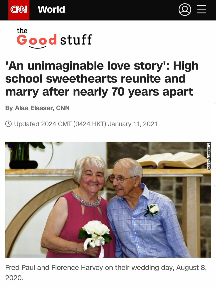 "Ternyata, cinta sesungguhnya tidak butuh stamina, Bro!   ""She was my first love. My first girlfriend and my first true love,""  #FirstLove   'An unimaginable love story': High school sweethearts reunite and marry after nearly 70 years apart"