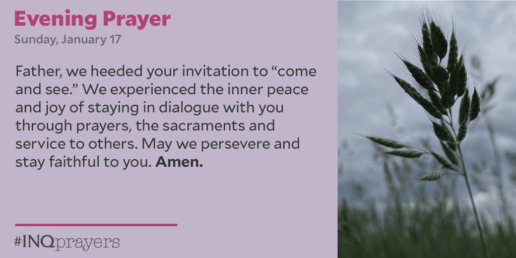 Tonight's Evening Prayer. #INQPrayers