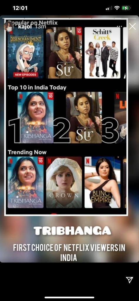 'Tribhanga' becomes first choice of Netflix viewers! Family drama 'Tribhanga', starring Kajol, TanviAzmi, MithilaPalkar, has been appreciated for its storyline and received rave reviews. Directed by Renuka Sahane, the film is at the top of the table in the India Trends of Netflix