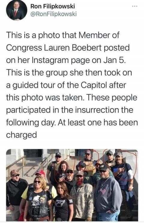 "@laurenboebert @Reuters Lauren gave a ""tour"" on the 5th even though she is denying it.  #SeditionHasConsequences #ResignBoebert"