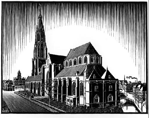 Delft: Nieuwe Kerk, 1939 #mcescher #surrealism