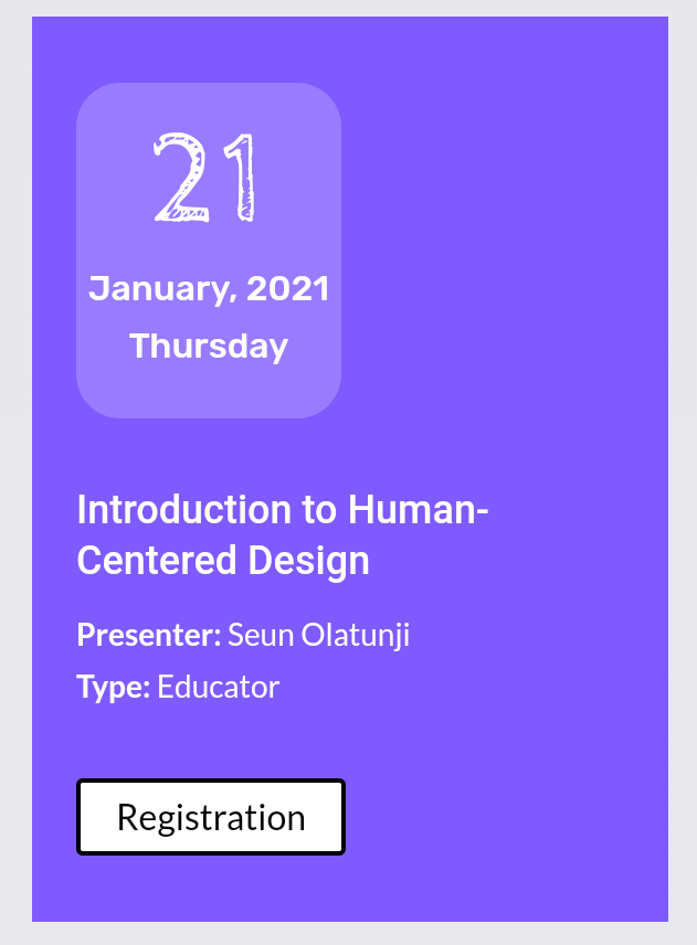 """My first session """"Introduction to Human-Centered Design"""" is on the 21st. Register here    #designthinking #Humancentereddesign #BTMP #designtwitter #design #Business"""