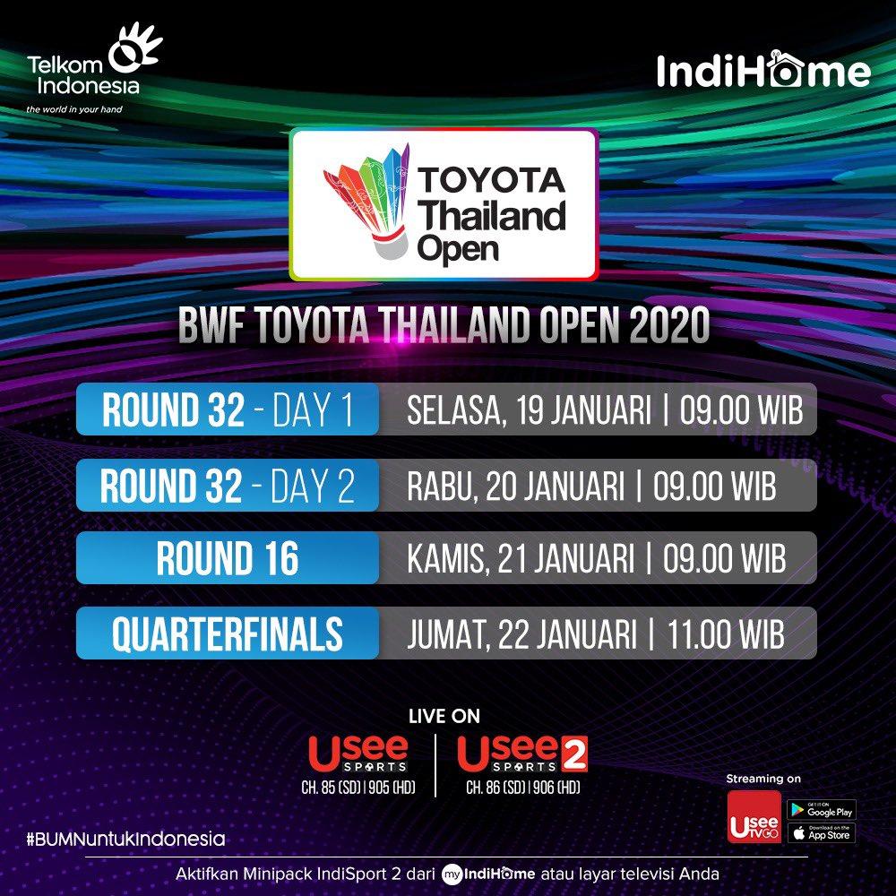 BWF Toyota Thailand Open akan segera di mulai! Siapa jagoan kamu? Saksikan 19 - 24 Januari 2021 . Subscribe minipack IndiSport 2 dari layar TV atau via aplikasi myIndiHome kamu! . #HomeofPremiumSports #BWFWorldTour #ToyotaThailandOpen https://t.co/KWuly48UbZ